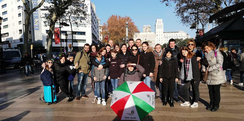 Tour gratis di Barcellona in italiano. L'ombrello italiano